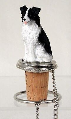 BORDER COLLIE Dog CORK WINE BOTTLE STOPPER resin HAND PAINTED FIGURINE puppy NEW