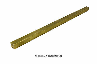 "3/8"" Inch 14"" Long C360 Brass Half Hard Square Bar Mill Rod Stock .375"""