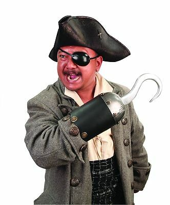 Leather and Metal Pirate Costume Hook w/ Skull and Crossbones