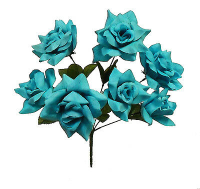 7 OPEN ROSES ~ TURQUOISE BLUE ~ Soft Silk Wedding Flowers Bouquets Centerpieces