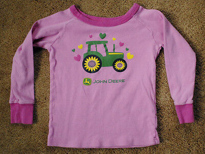 JOHN DEERE pink long sleeve shirt size girls M 5 6 TRACTOR