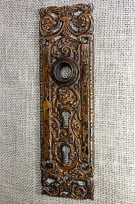 Door latch back plate bronze wolf fox head double key mansion COLUMBIAN vintage