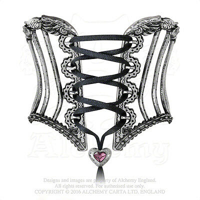 Alchemy Gothic Tightlace Corset Victorian Pewter Boned Laced Bangle Bracelet