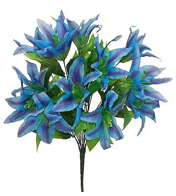 14 Tiger Lilies Lily ~ BLUE ~  Silk Wedding Flowers Bridal Bouquets Centerpieces