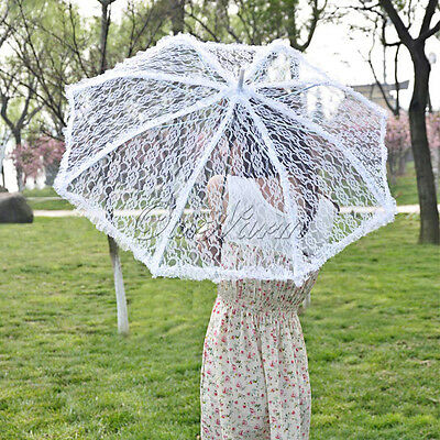 Lace Umbrella Weding Party Bridal Flower Girls Parasol Handmade Battenburg White