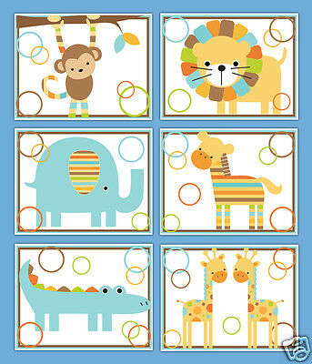 Safari Nursery Wall Art Prints Baby Boy Jungle Animals Monkey Elephant Giraffe