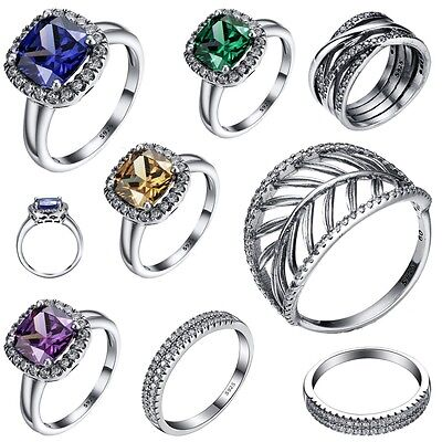 Size 6-9 Luxury Sapphire New Silver Wedding Engagement Ring 925 Sterling Jewelry