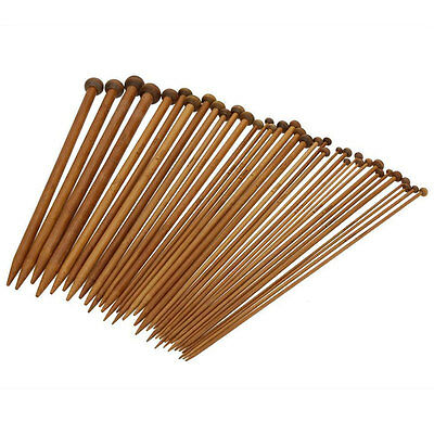 36Pcs 18 sizes Single Pointed Carbonized Bamboo Knitting Needles Craft Crochet