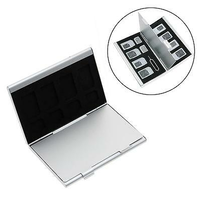 15 In 1 Micro-SIM Card Sim Card Needle Holder Aluminum Case Storage Box Siliver