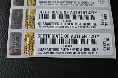 COA certificate Tamper Evident Security Stickers x 500 WITH HOLOGRAM LABEL
