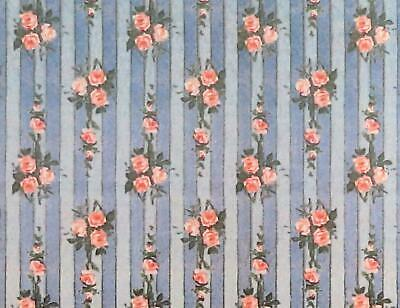 Melody Jane Dolls House Miniature Print 1:12 Pink Rose on Blue Stripe Wallpaper