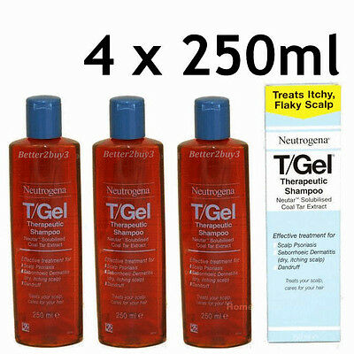 4 x 250ml TGEL T/GEL SHAMPOO  NEUTROGENA NEW T-GEL T Gel