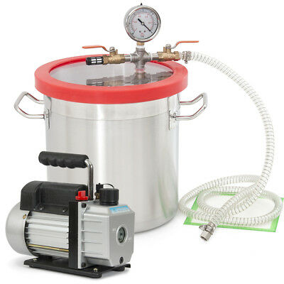 3 CFM Single Stage Pump w/ 2 Gallon Vacuum Chamber Degassing Urethane Silicone