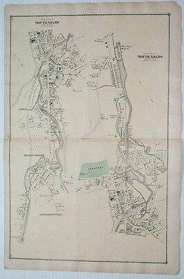 1876 Original HAND COLORED Map- SOUTH ADAMS MA -FW BEERS ATLAS-Massachusetts-2pg