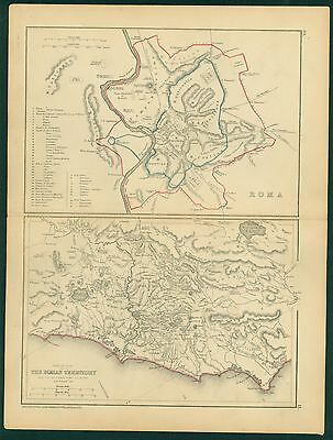 1856 ROME Hand Colored MAP - LONG Classical ATLAS -8 x 11 inch- ROMAN TERRITORY