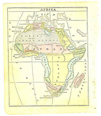 1858 Original HAND COLORED Map- AFRICA from Cornell ATLAS - African Continent