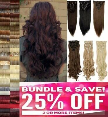 Real Natural Clip in on Full Head Hair Extentions Synthetic Remy Chocolate Brown