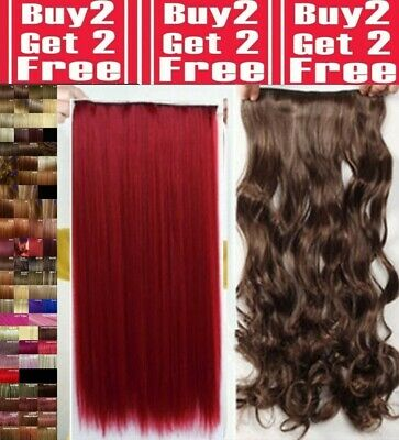 Real Natural Clip in on Full Head Hair Extentions Synthetic Remy Brown Ginger