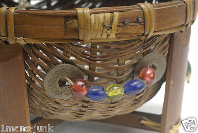 Betty-Lou Collection ANTIQUE SMALL Chinese Sewing Basket Footed BEADS Coins mint