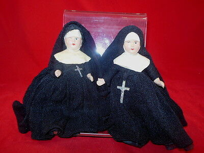 Pair Of Storybook Hard Plastic Composition? Religious NUN Dolls With Cross