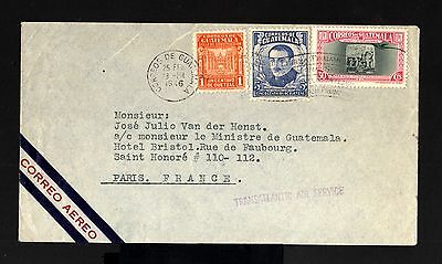 8374-GUATEMALA-AIRMAIL COVER GUATEMALA to PARIS (france) 1946.WWII.enveloppe