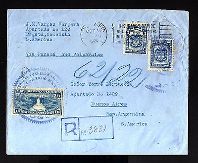 8361-COLOMBIA-REGISTERED COVER BOGOTA to BUENOS AIRES (argentina) 1924.enveloppe