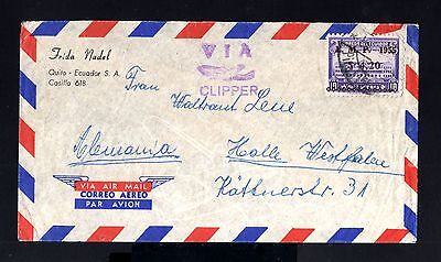 8404-ECUADOR-AIRMAIL CLIPPER COVER QUITO to HALLE (germany)1955.Aereo.