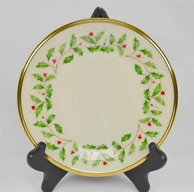 Lenox Dimension Holiday Christmas Holly Berry Salad Plate Round Gold Trim