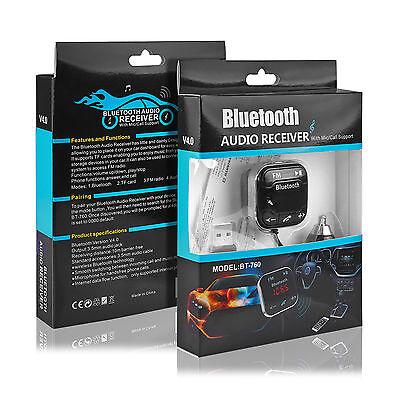 Handsfree Car Wireless MP3 Player Bluetooth FM Transmitter 2 USB charge adapter