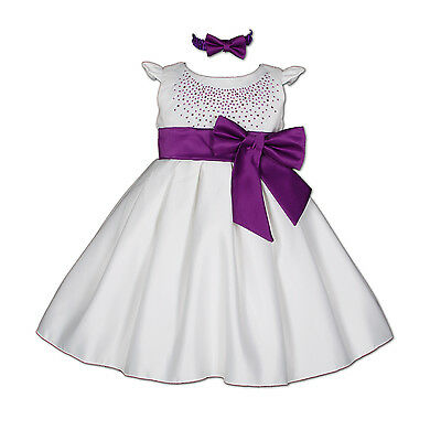 New White and Purple Satin Christening Party Dress with Headband 18-24 Months