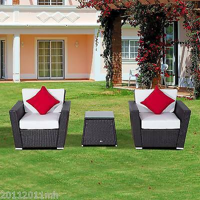 Outsunny 3Pcs Wicker Armchair Set Patio Furniture Cushioned Sofa W/ Table Pillow