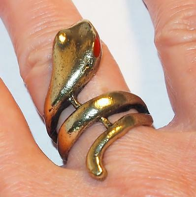 Vintage Goldtone Red Enamel Eyes Figural Coiled Snake Ring Size 5
