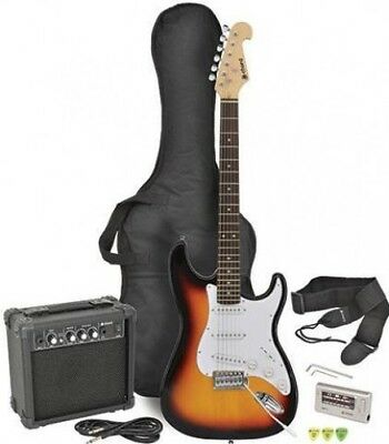 Chord CAL63PK Electric Sunburst Guitar and Amp Set + Accessories Starter Kit