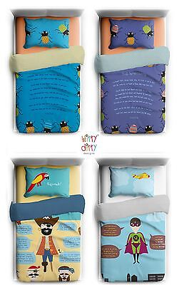 Witty Ditty Childrens Kids Duvet Single Cover Set, Bug, Superhero or PIrate