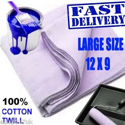 1 Large (12'X9') 100% Cotton Twill Dust Sheet Professional Quality Decorating