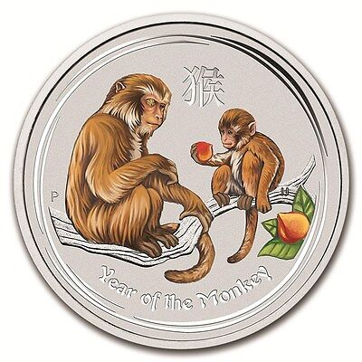 Lunar II Jahr des Affe Year of the Monkey 1 oz farbe farbig Perth Mint 1 AUD NEU