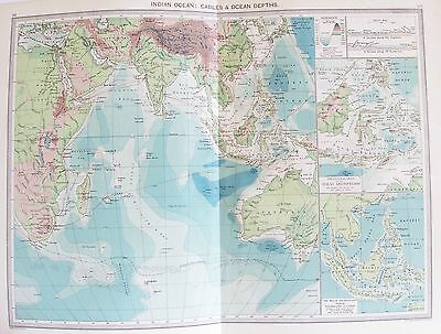 OLD ANTIQUE MAP INDIAN OCEAN DEPTHS CABLES MALAY ARCHIPELAGO c1906 by PHILIP