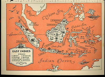 1945 EAST INDIES Color PICTURE MAP - ISLANDS by BEAUDOUIN - 6.33 x 9 inch