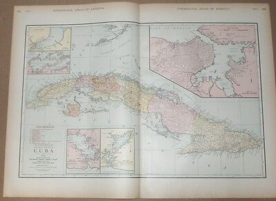 1920 Orig. CUBA RAILROAD MAP- Republic of Cuba from Rand McNally RR ATLAS-16x24""