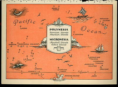 1945 POLYNESIA Color PICTURE MAP- MICRONESIA ISLANDS by BEAUDOUIN- 6.33 x 9 inch
