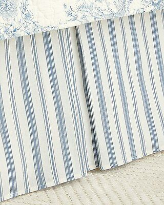 CLEMENTINA BLUE Twin Queen or King BED SKIRT: WHITE TICKING STRIPE DUST RUFFLE
