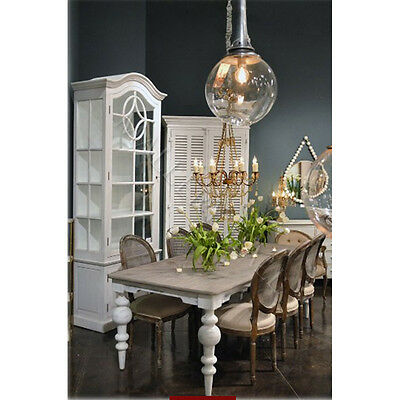 Pine Top White Distressed Base Dining Table Turned Base French Country Style