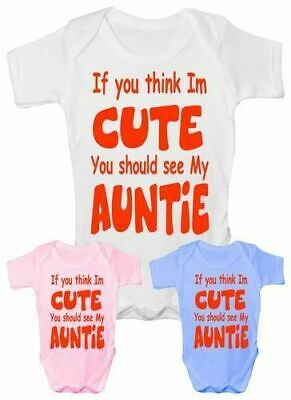 Baby Clothes Cute Auntie Aunty Bodysuit Vest Girls Boys Baby Shower Gift