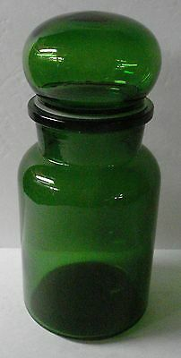 Vintage Green Glass Apothecary Style Jar & Sealable Lid Made in Belgium