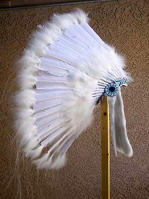 Native American Made Feather Hand Beaded Wedding Warbonnet Head Dress Headdress