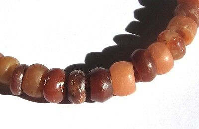 14 Rare Amazing Small Ancient Banded Carnelian Agate Eye Mali Disk Beads