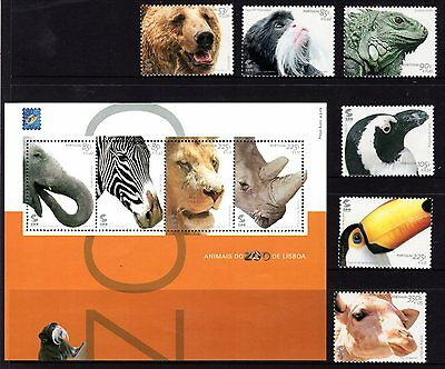 Portugal 2001 Animals in Lisbon Zoo Set 6 + Sheetlet 4 MNH