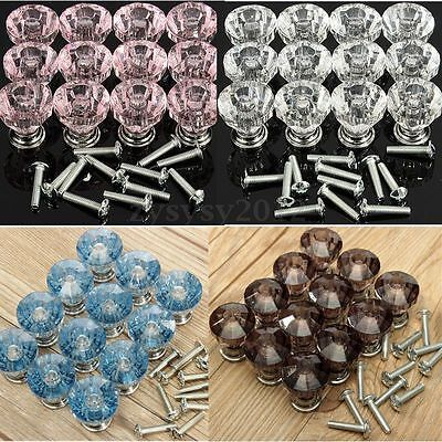 12X Crystal Glass Door Knobs Drawer Cabinet Furniture Kitchen Pull Top Handle