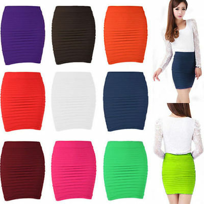 Women's Pleated Seamless Stretch Tight Sexy Bodycon Pencil Mini Skirt uf