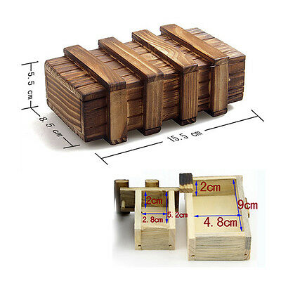 Magic Construction Intelligence Wood Lock Wooden Puzzle Box Toy Brain Teaser  EX